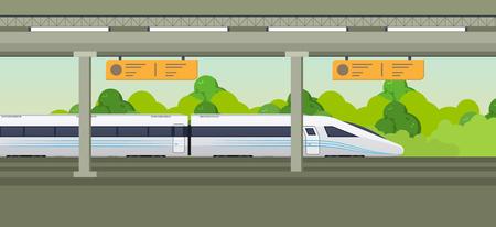 Modern fast train on railway station. Railway type transport, locomotive.  イラスト・ベクター素材