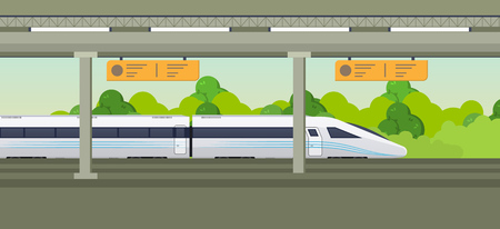 Modern fast train on railway station. Railway type transport, locomotive. Ilustração