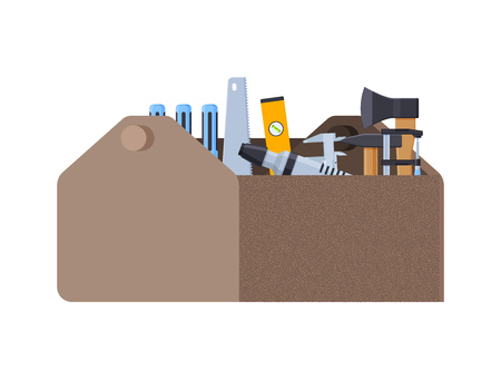 Repair, construction tools. Working case with tools for measuring, dismantling. Vector illustration. 일러스트