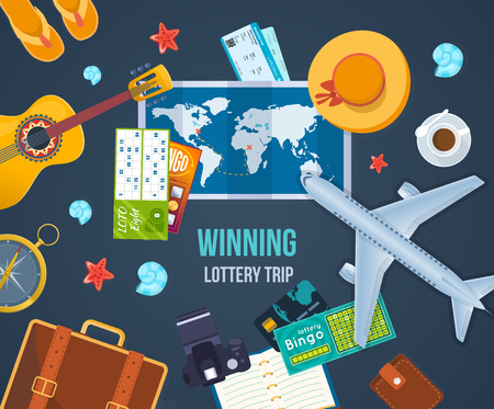 Winning lottery trip. Summer travel the world. Concept success, fortune.