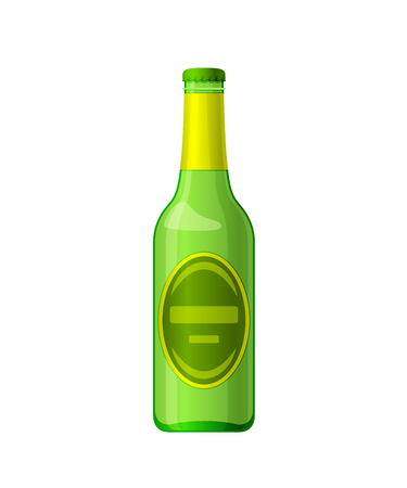 Template, layout, empty glass bottle of beer, alcohol drink. Illustration