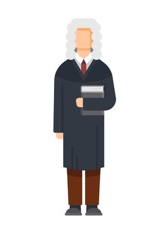 Man character is judge, civil, criminal cases, public court, sentencing. Ilustração
