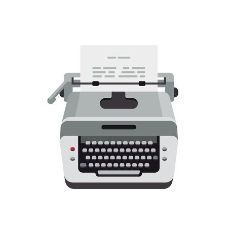 Old typewriter, vintage machine, typewriter for typing text, and paper.