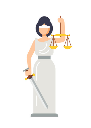 Statue of ancient Goddess of Justice Lady Themis. Stock Vector - 98529588