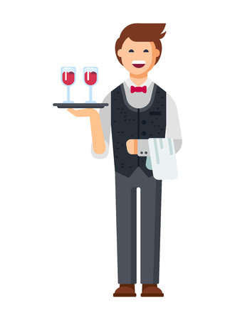 Restaurant waiter, in branded clothes takes the order, brings drinks. Stock Photo