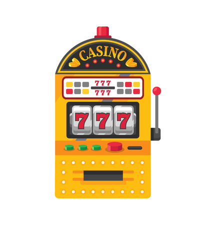Slot machine, one-armed bandit game device, roulette, gambling, video games. Vector illustration.