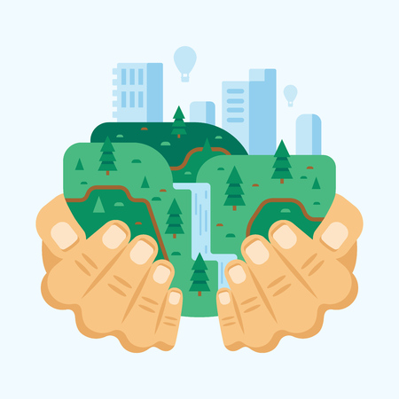 Environment protection, use natural clean products. Clean eco friendly city. Vector illustration. Illustration