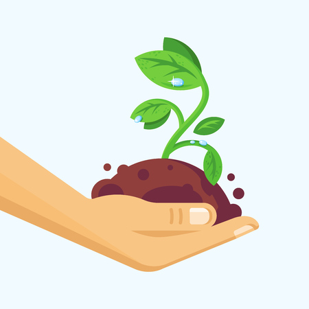 Environment protection, natural clean products, careful attitude to nature. Vector illustration.