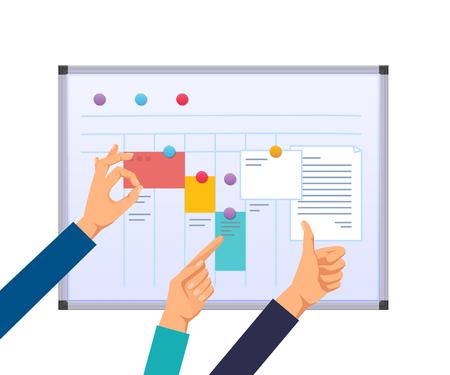 Task planning, teamwork and solutions. Illustration