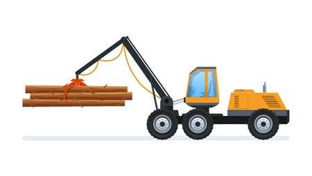 Wood production and forestry. Loading and transporting goods. Illustration