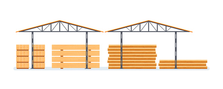 Industrial plant, wood processing, production. Building, factory with wood. Illustration