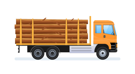Wood production and forestry. Transportation of natural resources. Stock Illustratie