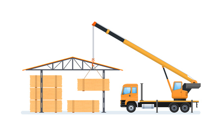 Wood production, forestry. Machine for loading and unloading in warehouse. Illustration