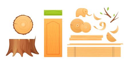 Holzindustrie, Knoten, Stümpfe, Bretter, Späne, fertige Holzprodukte.