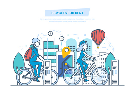 Bicycles for rent. City bike hire renting for tourists, visitors.