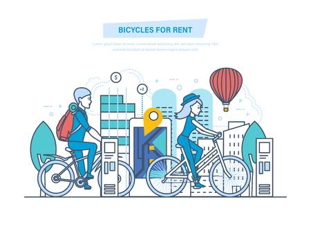 Biciclette a noleggio. Noleggio bici da città per turisti, visitatori. Archivio Fotografico - 99387768
