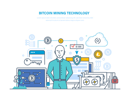 Bitcoin mining technology, extraction and receipt of bitcoins, financial earnings.