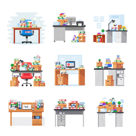 Set of interior office room and workplace. Office workplace with pile of paper documents and folders. Business documents, paper, scaning materials, carton boxes. Vector illustration. Çizim