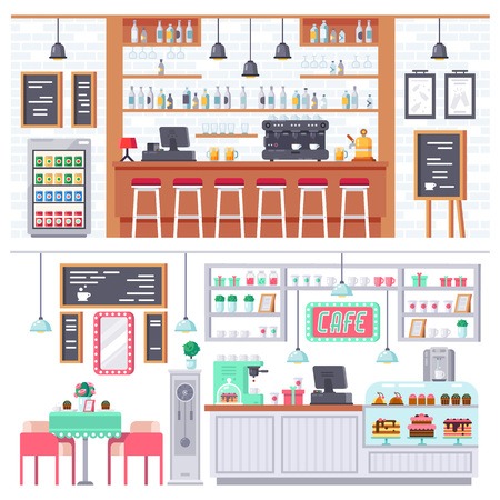Set of interior of room bar, pub, cafe. Bar stand, chairs, shelves with alcohol products, snacks, drinks. Appliances, freezer, wooden stands, paintings decor Coffee bar shop Vector illustration Stock Illustratie