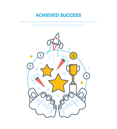Achieved success. Sporting achievements, successful startup projects, career growth, leadership, emotional position, financial well-being, success in business. Illustration thin line design.