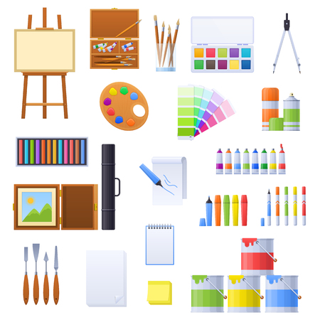 Set of various tools and accessories for drawing, artists. Stock Photo