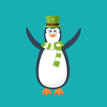 Funny penguin, Antarctic bird, in hat, scarf. Holiday Saint Patrick.