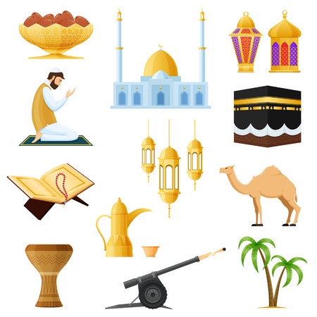 Set traditional Muslim objects in Ramadan Kareem. Traditions, worship, objects.