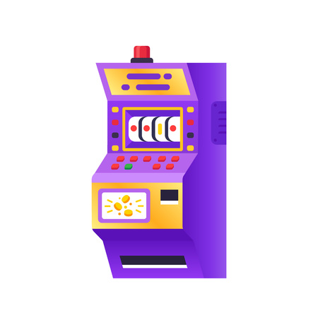 Slot machine in casino, electronic virtual game. Gambling, entertaining arcade on monitor. Terminal with buttons, levers, poker and other card games, for gambler or gamer. Vector illustration. Illustration