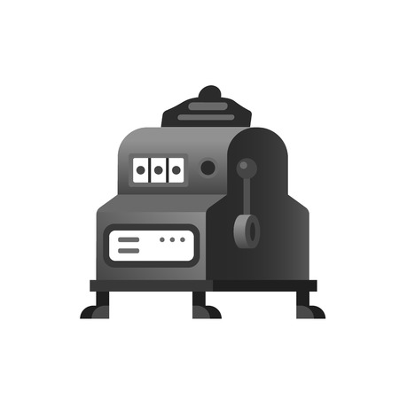 Old retro classic slot machine, an electronic virtual game machine. One-armed bandit, terminal with buttons, levers. Gambling, entertaining arcade games, for gambler or gamer. Vector illustration.