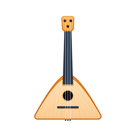 Russian national traditional stringed musical instrument, carved balalaika with patterns.