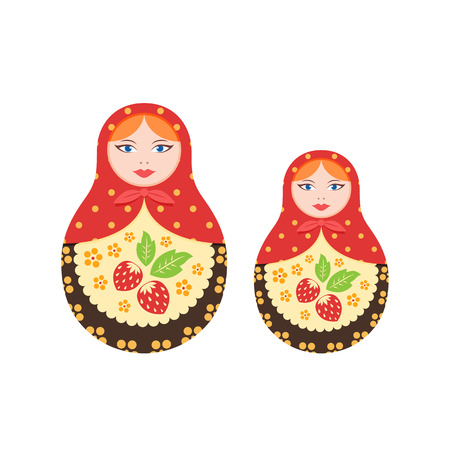 Russian culture, landmarks and symbols. Pair traditional, nested dolls.