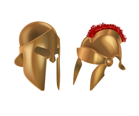 Set realistic Spartan Ancient Greek, Roman helmet. Bronze protective headgear. Illustration