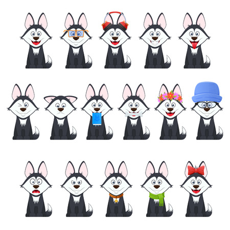 Set beautiful stylish dogs with different emotions: joy, surprise, coquetry, smile, anger, in calm sitting position, cartoon face, with glasses, headphones, book, bow with scarf Vector illustration