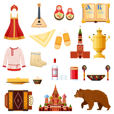 Set of traditional national objects russian culture, landmarks, symbols. Stock Illustratie