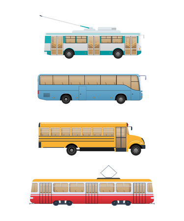 Set urban route transport. Trolleybus, school and shuttle bus, tram.