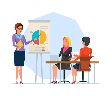 Girl, office worker, speaker, conducts training, business conference, shows presentation. Stock Illustratie