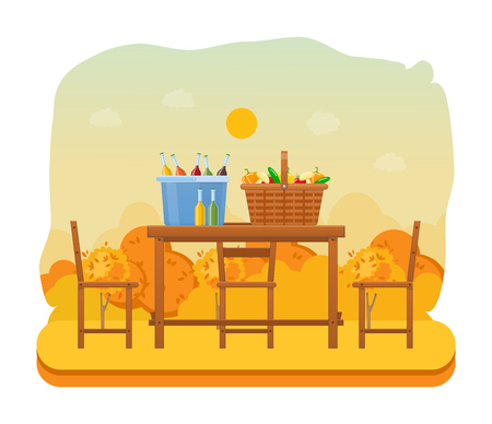 Autumn outdoor picnic in park. Set products, vegetables, drinks.