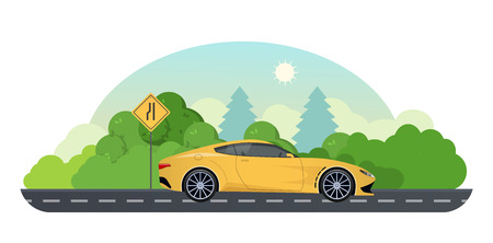 Travel by car. Trip on sports car on country road.