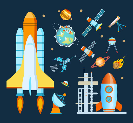 Concept space. Rocket, spacecraft, satellite launch, flight around the Earth.
