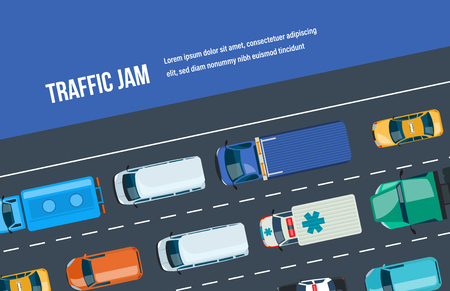 Traffic jam. Automobile traffic around the city and highway, motorway. Ilustrace