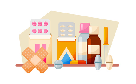 Healthcare, aid help. Medical set: tablets, syrups, drops, ointments, equipment.