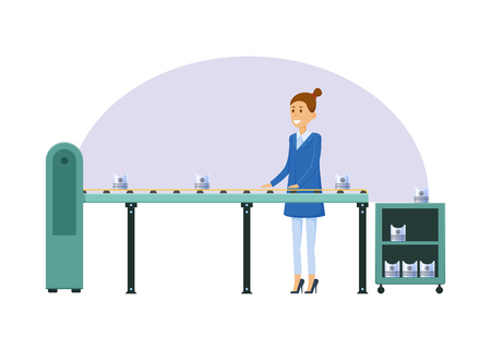 Manufacturing factory, girl, next to conveyor belt, sorts metal products.
