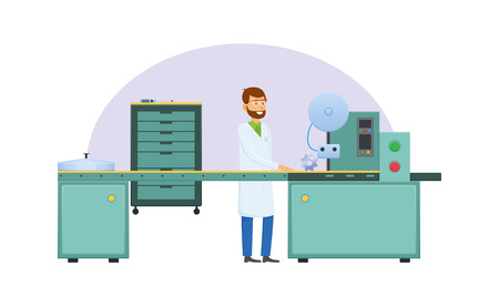 Manufacturing factory, factory worker in working form near technological metalworking machine with an automatic conveyor belt. Workflow process at manufacturing plant. Illustration in cartoon style.