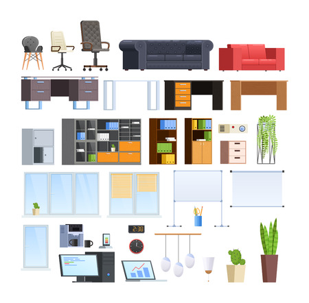 Conjunto de gran colección de mobiliario moderno para oficina y hogar. Ilustración de vector