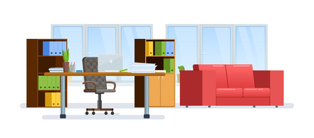 Modern interior office cabinet room. Equipped office work place.