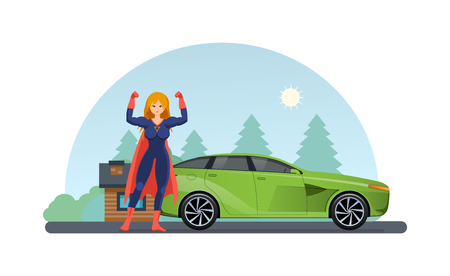 Woman superhero near road with car near. Girl in beautiful superhero costume, traveling by car in summer against the backdrop of rustic landscape. Drive by car in open air. Vector illustration.