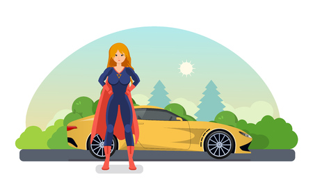 Woman superhero near road with car near. Drive by car.