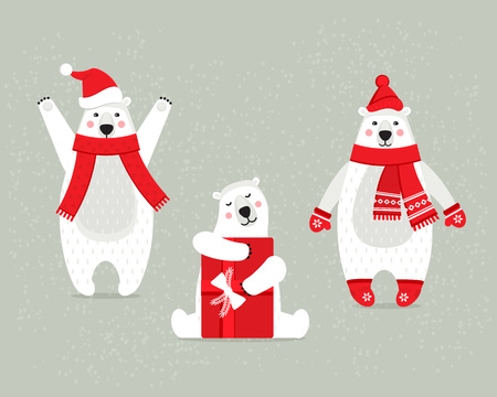 Set of beautiful white polar Christmas bears, in winter clothes.