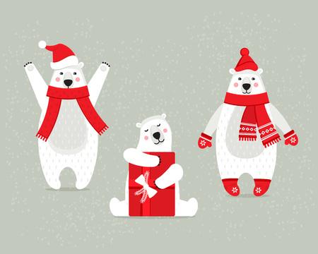 ensemble de belles noël polaire polaire blanc dans des vêtements d & # 39 ; hiver