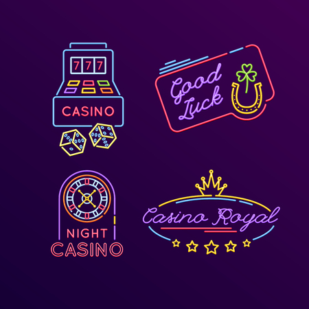 Set of neon signs, bright signage. Casino, gaming, gambling, roulette.